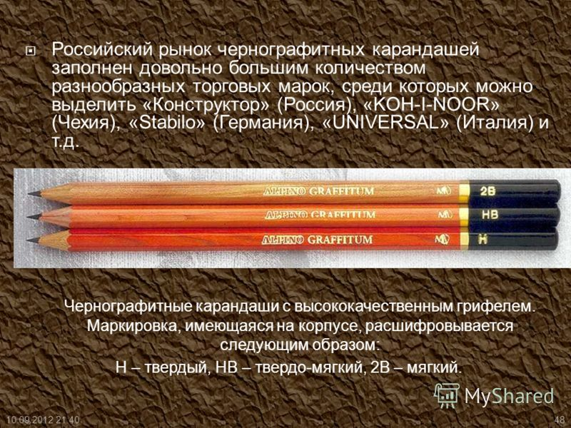 Российский рынок чернографитных карандашей заполнен довольно большим количеством разнообразных торговых марок, среди которых можно выделить «Конструктор» (Россия), «KOH-I-NOOR» (Чехия), «Stabilo» (Германия), «UNIVERSAL» (Италия) и т.д. Чернографитные