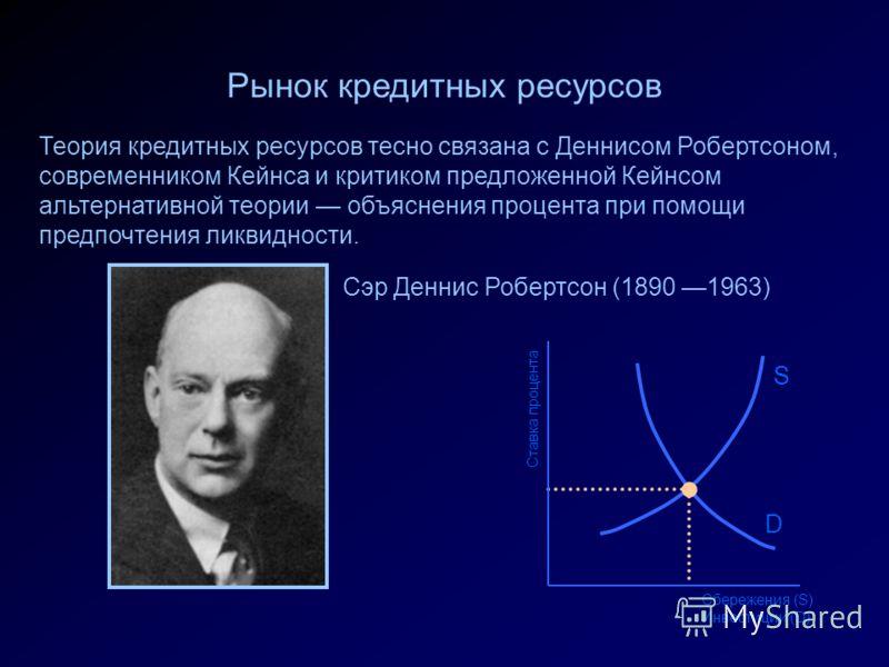 S Ставка процента Сбережения (S) Инвестиции (D) D Рынок кредитных ресурсов Теория кредитных ресурсов тесно связана с Деннисом Робертсоном, современником Кейнса и критиком предложенной Кейнсом альтернативной теории объяснения процента при помощи предп