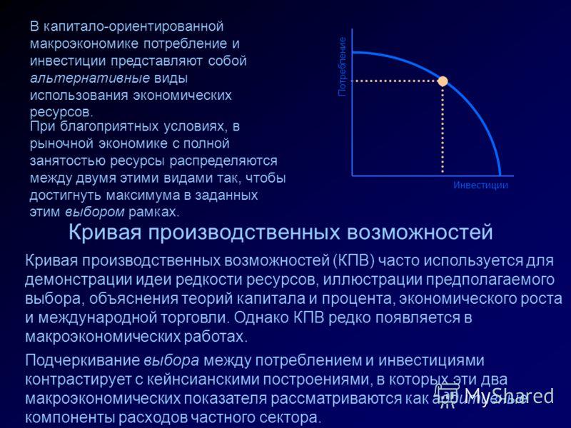 Потребление Инвестиции Кривая производственных возможностей Кривая производственных возможностей (КПВ) часто используется для демонстрации идеи редкости ресурсов, иллюстрации предполагаемого выбора, объяснения теорий капитала и процента, экономическо