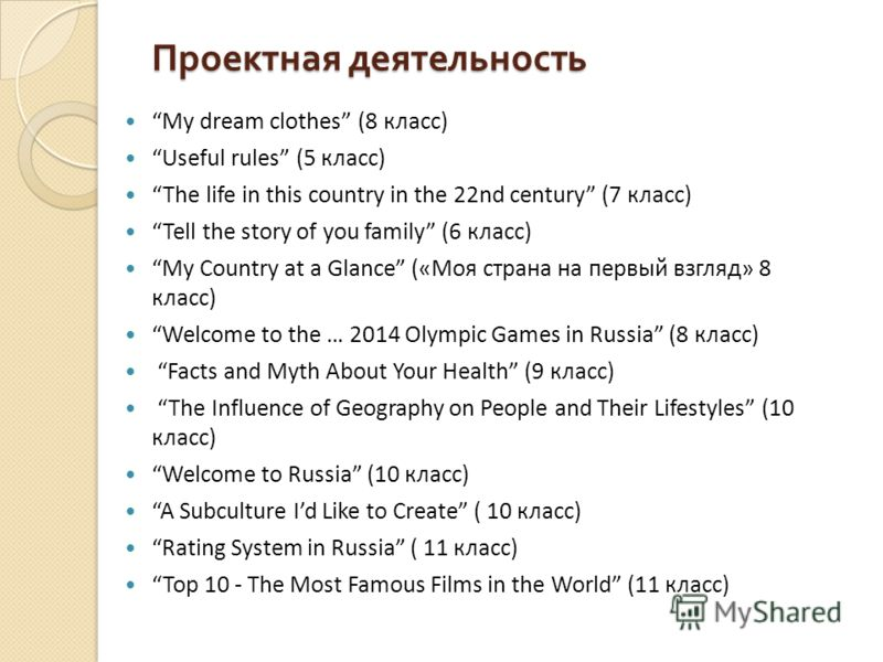 Проектная деятельность My dream clothes (8 класс) Useful rules (5 класс) The life in this country in the 22nd century (7 класс) Tell the story of you family (6 класс) My Country at a Glance («Моя страна на первый взгляд» 8 класс) Welcome to the … 201