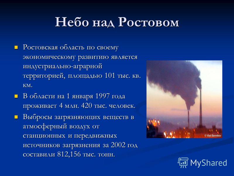Небо над Ростовом Ростовская область по своему экономическому развитию является индустриально-аграрной территорией, площадью 101 тыс. кв. км. Ростовская область по своему экономическому развитию является индустриально-аграрной территорией, площадью 1