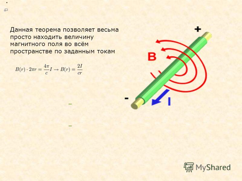 Данная теорема позволяет весьма просто находить величину магнитного поля во всём пространстве по заданным токам.