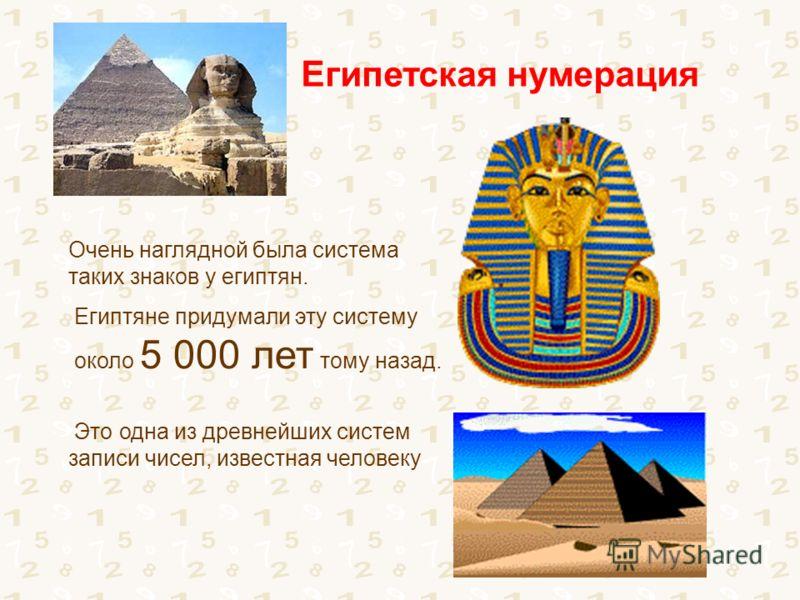 Очень наглядной была система таких знаков у египтян. Египтяне придумали эту систему около 5 000 лет тому назад. Это одна из древнейших систем записи чисел, известная человеку Египетская нумерация