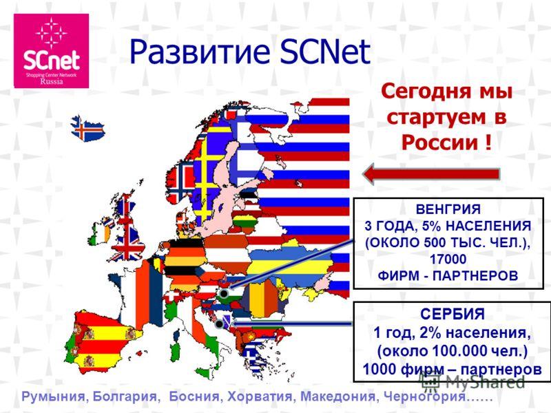 Развитие SCNet Сегодня мы стартуем в России ! СЕРБИЯ 1 год, 2% населения, (около 100.000 чел.) 1000 фирм – партнеров ВЕНГРИЯ 3 ГОДА, 5% НАСЕЛЕНИЯ (ОКОЛО 500 ТЫС. ЧЕЛ.), 17000 ФИРМ - ПАРТНЕРОВ Румыния, Болгария, Босния, Хорватия, Македония, Черногория