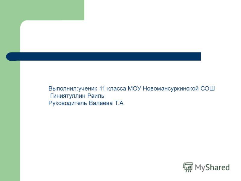 Выполнил:ученик 11 класса МОУ Новомансуркинской СОШ Гиниятуллин Раиль Руководитель:Валеева Т.А