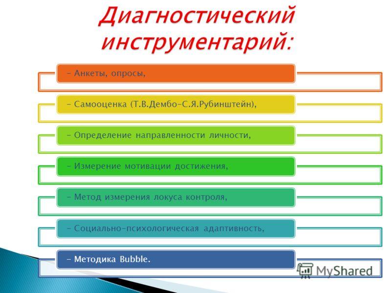 - Анкеты, опросы,- Самооценка (Т.В.Дембо-С.Я.Рубинштейн),- Определение направленности личности,- Измерение мотивации достижения,- Метод измерения локуса контроля,- Социально-психологическая адаптивность,- Методика Bubble.