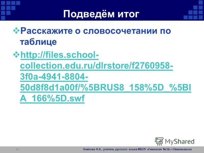 Подведём итог Расскажите о словосочетании по таблице http://files.school- collection.edu.ru/dlrstore/f2760958- 3f0a-4941-8804- 50d8f8d1a00f/%5BRUS8_158%5D_%5BI A_166%5D.swf http://files.school- collection.edu.ru/dlrstore/f2760958- 3f0a-4941-8804- 50d