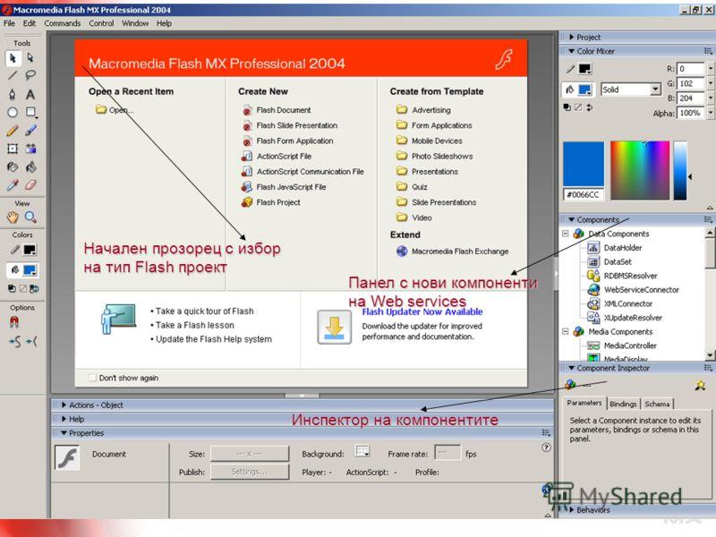 2.10.2004 г. 11 Инспектор на компонентите Панел с нови компоненти на Web services Начален прозорец с избор на тип Flash проект