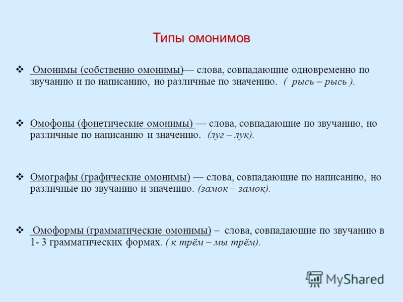 Типы омонимов Омонимы (собственно омонимы) слова, совпадающие одновременно по звучанию и по написанию, но различные по значению. ( рысь – рысь ). Омофоны (фонетические омонимы) слова, совпадающие по звучанию, но различные по написанию и значению. (лу