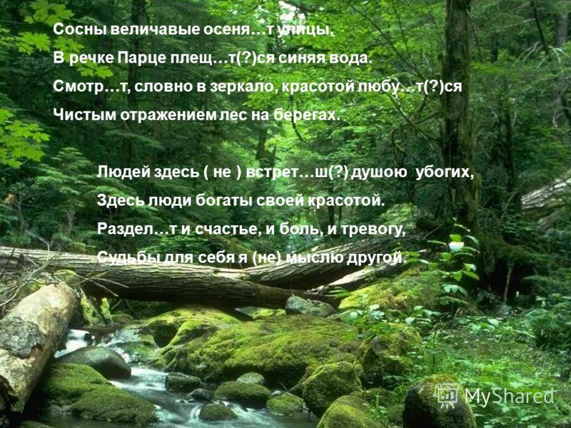 Сосны величавые осеня…т улицы, В речке Парце плещ…т(?)ся синяя вода. Смотр…т, словно в зеркало, красотой любу…т(?)ся Чистым отражением лес на берегах. Людей здесь ( не ) встрет…ш(?) душою убогих, Здесь люди богаты своей красотой. Раздел…т и счастье,