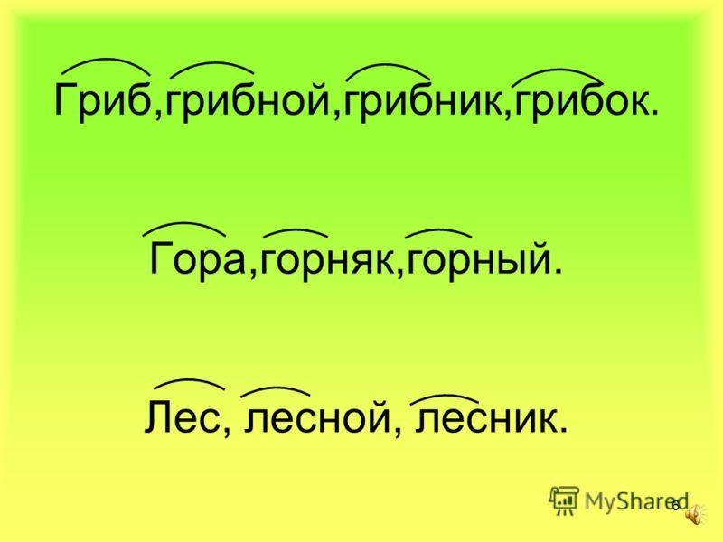 5 Гриб, гора, грибной, лес, горняк, лесник, горный, грибок, лесок. РАЗДЕЛИТЕ НА ГРУППЫ: