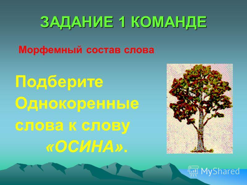 ЗАДАНИЕ 1 КОМАНДЕ Морфемный состав слова Подберите Однокоренные слова к слову «ОСИНА».