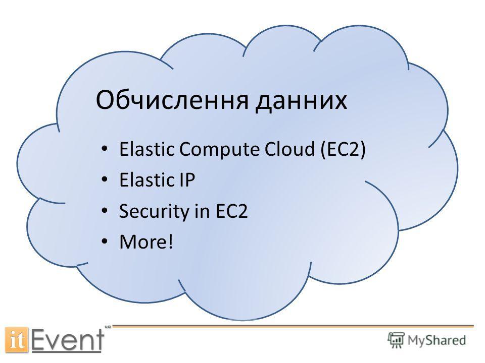 Обчислення данних Elastic Compute Cloud (EC2) Elastic IP Security in EC2 More!