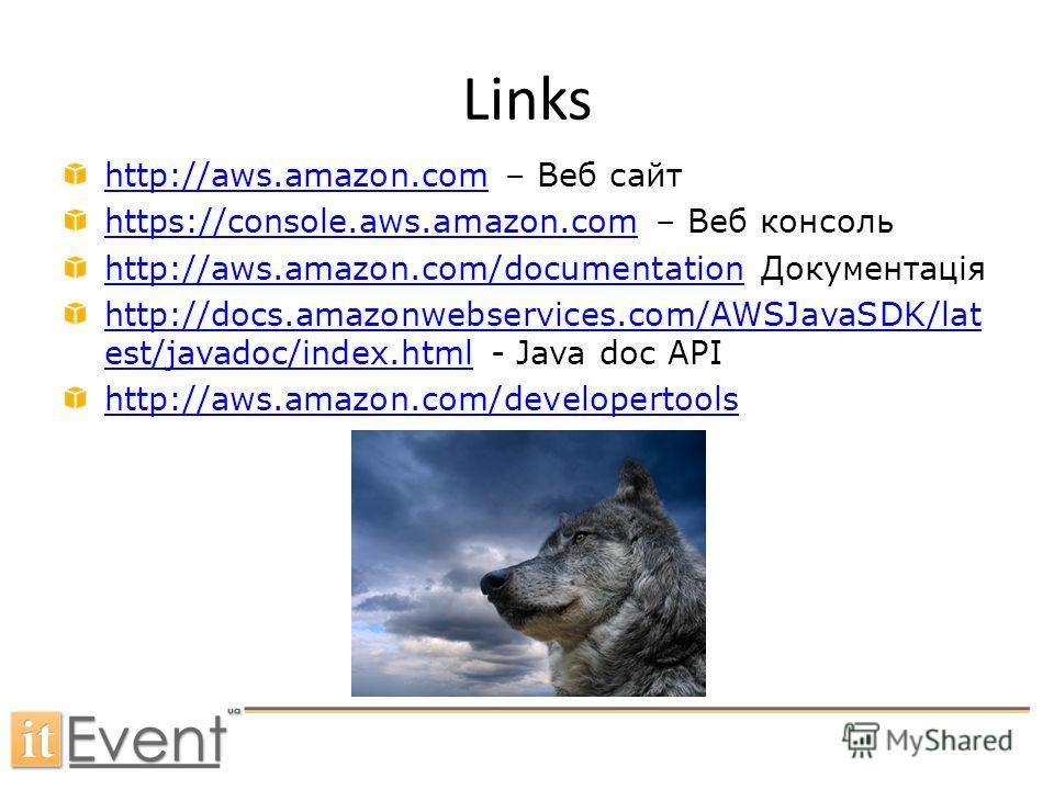 High - CPU Links http://aws.amazon.comhttp://aws.amazon.com – Веб сайт https://console.aws.amazon.comhttps://console.aws.amazon.com – Веб консоль http://aws.amazon.com/documentationhttp://aws.amazon.com/documentation Документація http://docs.amazonwe