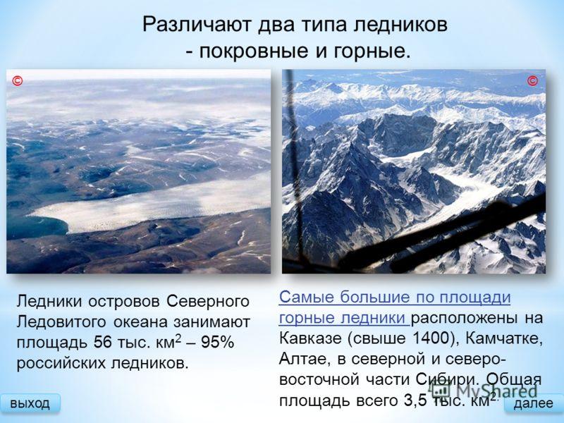 Различают два типа ледников - покровные и горные. выход Самые большие по площади горные ледники Самые большие по площади горные ледники расположены на Кавказе (свыше 1400), Камчатке, Алтае, в северной и северо- восточной части Сибири. Общая площадь в