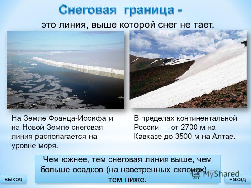 На Земле Франца-Иосифа и на Новой Земле снеговая линия располагается на уровне моря. это линия, выше которой снег не тает. В пределах континентальной России от 2700 м на Кавказе до 3500 м на Алтае. выходназад Зависимость Чем южнее, тем снеговая линия