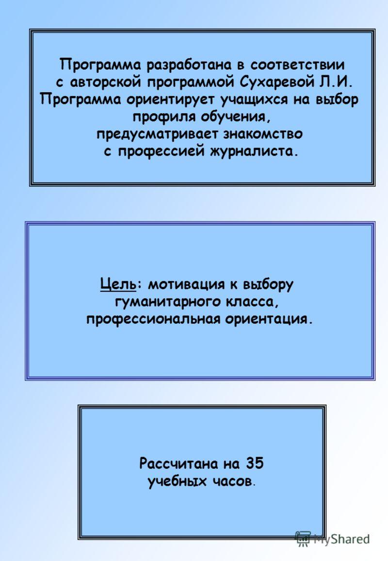 Программа разработана в соответствии с авторской программой Сухаревой Л.И. Программа ориентирует учащихся на выбор профиля обучения, предусматривает знакомство с профессией журналиста. Цель: мотивация к выбору гуманитарного класса, профессиональная о