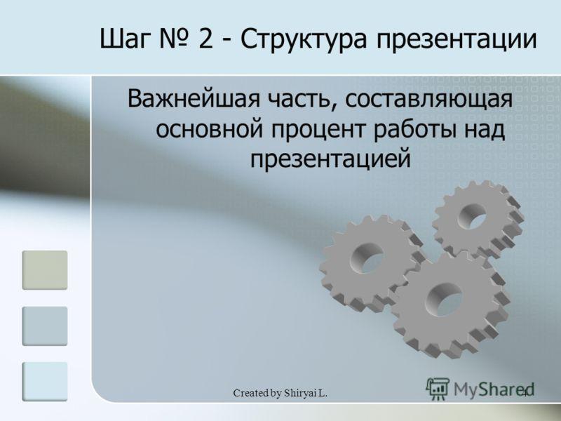 Created by Shiryai L.4 Шаг 2 - Структура презентации Важнейшая часть, составляющая основной процент работы над презентацией
