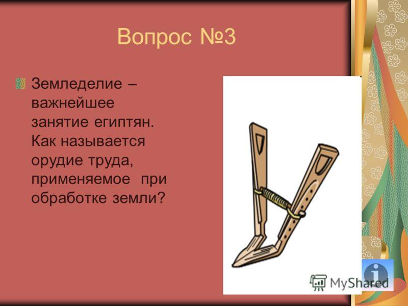 Вопрос 3 Земледелие – важнейшее занятие египтян. Как называется орудие труда, применяемое при обработке земли?