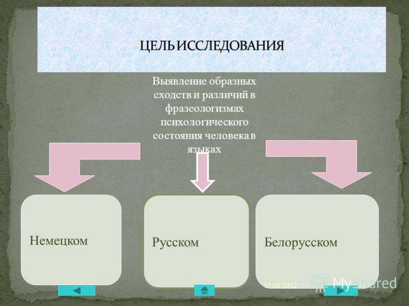 Немецком Выявление образных сходств и различий в фразеологизмах психологического состояния человека в языках Белорусском Русском 10.09.2012