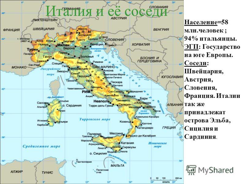 Италия и её соседи Население=58 млн.человек ; 94% итальянцы. ЭГП: Государство на юге Европы. Соседи: Швейцария, Австрия, Словения, Франция. Италии так же принадлежат острова Эльба, Сицилия и Сардиния.