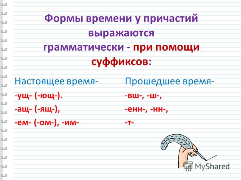 Формы времени у причастий выражаются грамматически - при помощи суффиксов: Настоящее время- -ущ- (-ющ-). -ащ- (-ящ-), -ем- (-ом-), -им- Прошедшее время- -вш-, -ш-, -енн-, -нн-, -т-