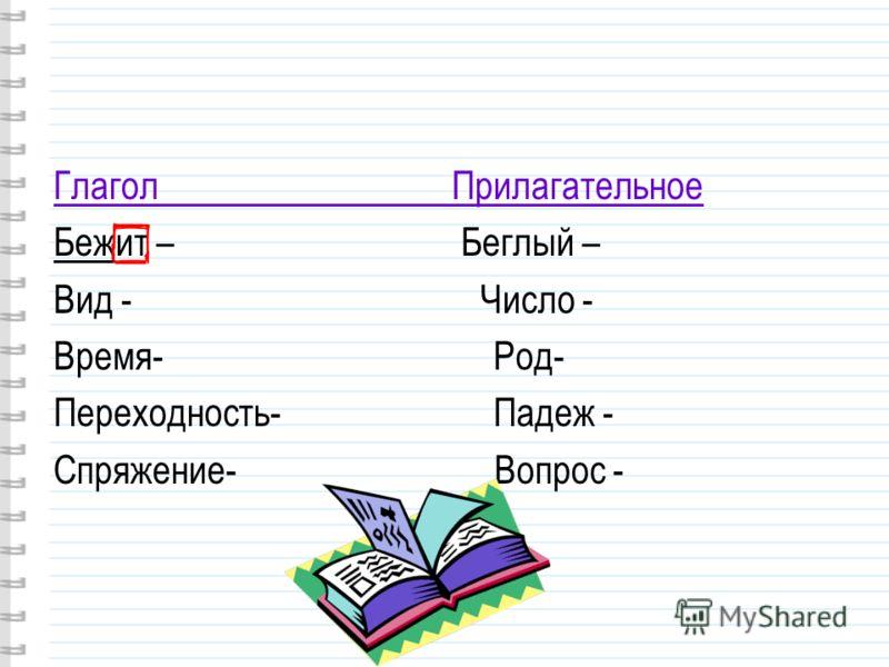 Глагол Прилагательное Бежит – Беглый – Вид - Число - Время- Род- Переходность- Падеж - Спряжение- Вопрос -
