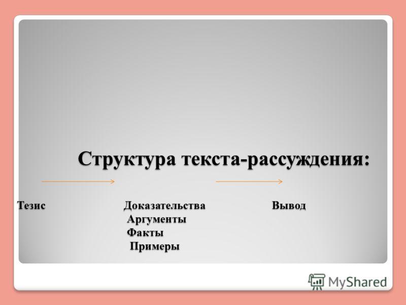 Структура текста-рассуждения: Тезис Доказательства Вывод Аргументы Факты Примеры Структура текста-рассуждения: Тезис Доказательства Вывод Аргументы Факты Примеры