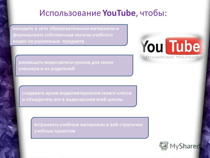 Использование YouTube, чтобы: находить в сети образовательные материалы и формировать собственные каналы учебного видео по различным предмета размещать видеозаписи уроков для своих учеников и их родителей создавать архив видеоматериалов своего класса