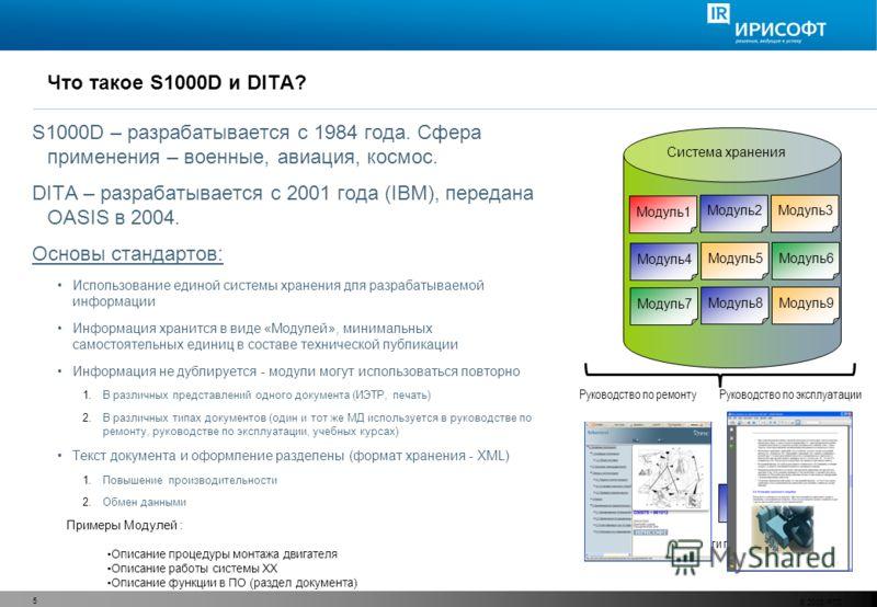 © 2008 PTC 5 Что такое S1000D и DITA? S1000D – разрабатывается с 1984 года. Сфера применения – военные, авиация, космос. DITA – разрабатывается с 2001 года (IBM), передана OASIS в 2004. Основы стандартов: Использование единой системы хранения для раз