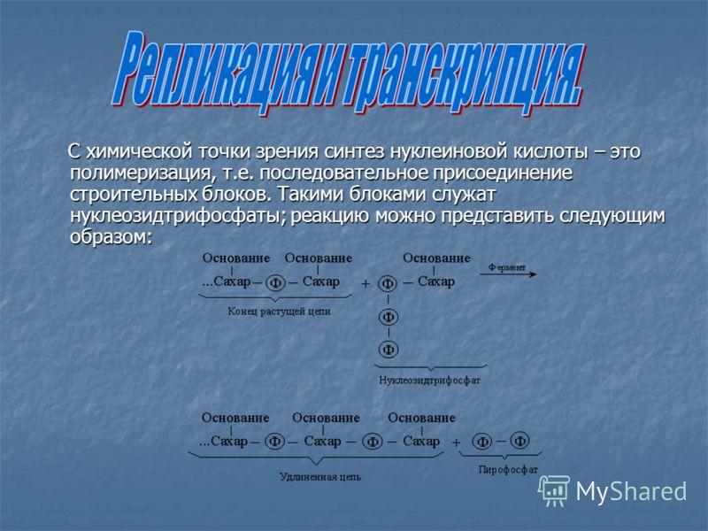 С химической точки зрения синтез нуклеиновой кислоты – это полимеризация, т.е. последовательное присоединение строительных блоков. Такими блоками служат нуклеозидтрифосфаты; реакцию можно представить следующим образом: С химической точки зрения синте