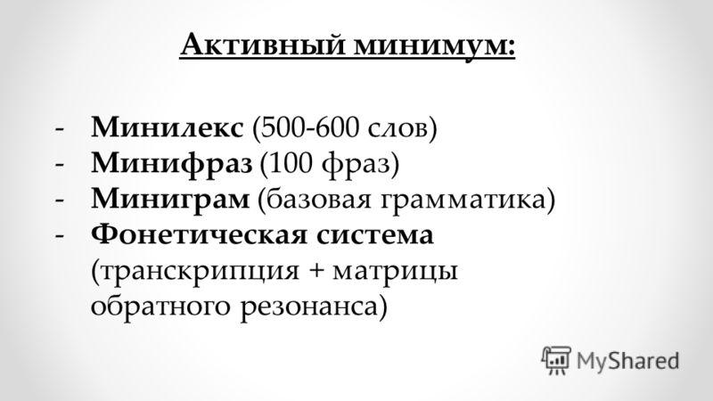 -Минилекс (500-600 слов) -Минифраз (100 фраз) -Миниграм (базовая грамматика) -Фонетическая система (транскрипция + матрицы обратного резонанса) Активный минимум: