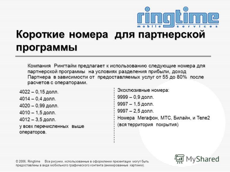 © 2006, Ringtime Все рисунки, использованные в оформлении презентации могут быть предоставлены в виде мобильного графического контента (анимированные картинки). Короткие номера для партнерской программы Компания Рингтайм предлагает к использованию сл