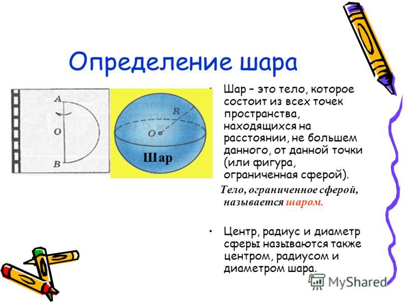 Определение шара Шар – это тело, которое состоит из всех точек пространства, находящихся на расстоянии, не большем данного, от данной точки (или фигура, ограниченная сферой). Тело, ограниченное сферой, называется шаром. Центр, радиус и диаметр сферы