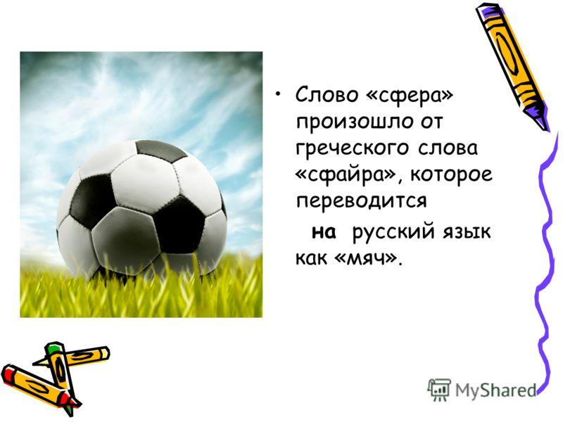 Слово «сфера» произошло от греческого слова «сфайра», которое переводится на русский язык как «мяч».
