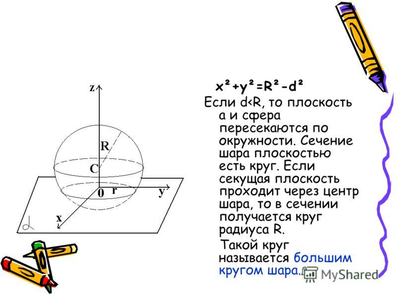 x²+y²=R²-d² Если d