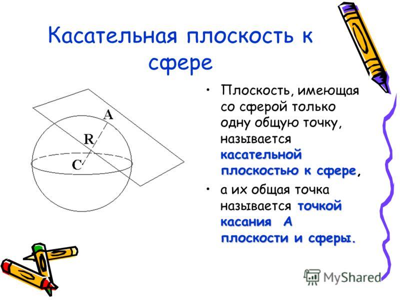 Касательная плоскость к сфере касательной плоскостью к сфереПлоскость, имеющая со сферой только одну общую точку, называется касательной плоскостью к сфере, точкой касания А плоскости и сферы.а их общая точка называется точкой касания А плоскости и с