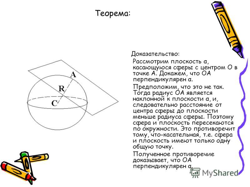 Теорема: Радиус сферы, проведённый в точку касания сферы и плоскости, перпендикулярен к касательной плоскости. Доказательство: Рассмотрим плоскость α, касающуюся сферы с центром О в точке А. Докажем, что ОА перпендикулярен α. Предположим, что это не