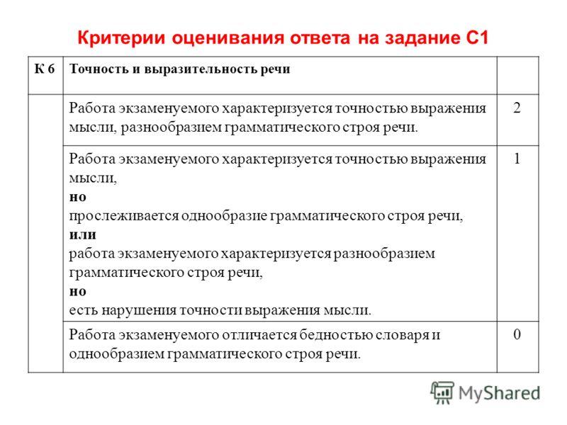 Критерии оценивания ответа на задание С1 К 6Точность и выразительность речи Работа экзаменуемого характеризуется точностью выражения мысли, разнообразием грамматического строя речи. 2 Работа экзаменуемого характеризуется точностью выражения мысли, но