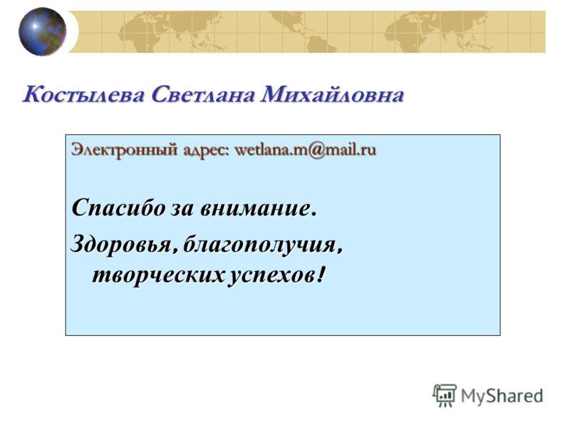 Электронный адрес: wetlana.m@mail.ru Спасибо за внимание. Здоровья, благополучия, творческих успехов ! Костылева Светлана Михайловна