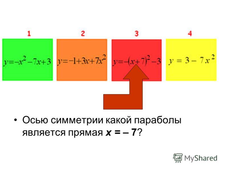 Осью симметрии какой параболы является прямая х = – 7?