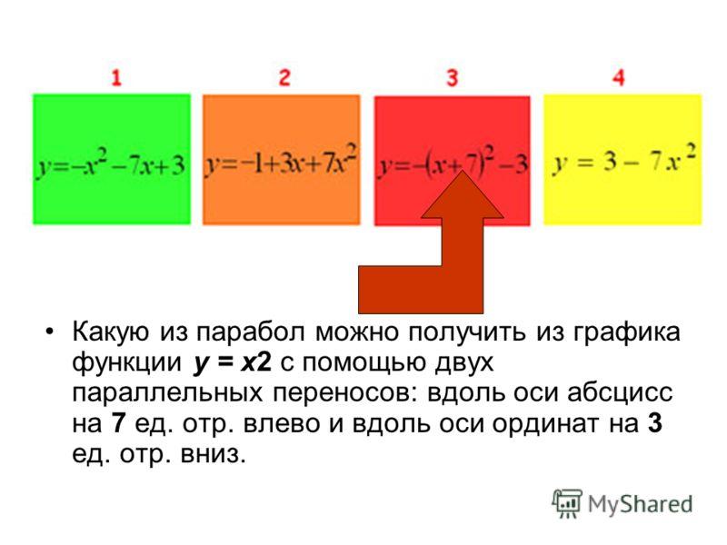 Какую из парабол можно получить из графика функции y = x2 с помощью двух параллельных переносов: вдоль оси абсцисс на 7 ед. отр. влево и вдоль оси ординат на 3 ед. отр. вниз.