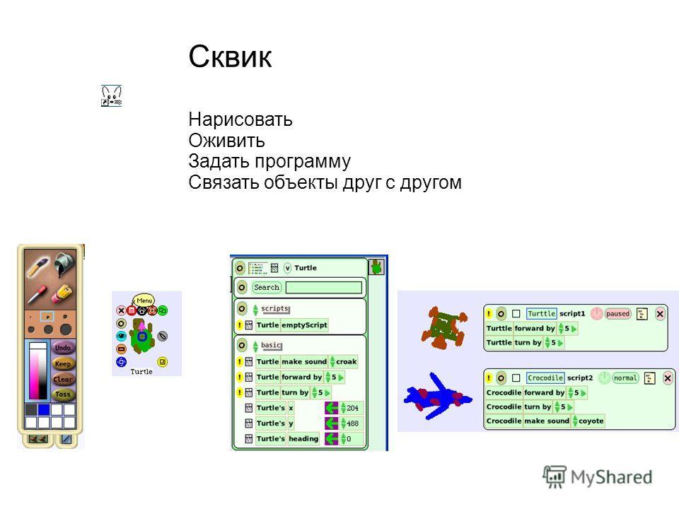 Сквик Нарисовать Оживить Задать программу Связать объекты друг с другом