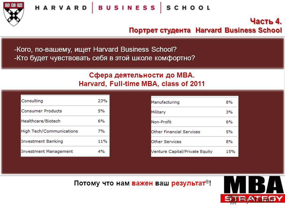 -Кого, по-вашему, ищет Harvard Business School? -Кто будет чувствовать себя в этой школе комфортно? Сфера деятельности до MBA. Harvard, Full-time MBA, class of 2011 Потому что нам важен ваш результат ® ! Часть 4. Портрет студента Harvard Business Sch