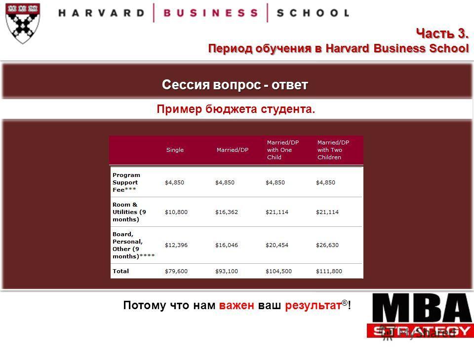 Сессия вопрос - ответ Пример бюджета студента. Потому что нам важен ваш результат ® ! Часть 3. Период обучения в Harvard Business School