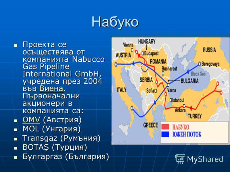 Набуко Проекта се осъществява от компанията Nabucco Gas Pipeline International GmbH, учредена през 2004 във Виена. Първоначални акционери в компанията са: Проекта се осъществява от компанията Nabucco Gas Pipeline International GmbH, учредена през 200