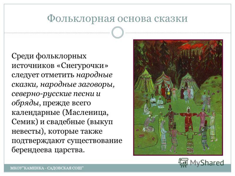 Фольклорная основа сказки МКОУ