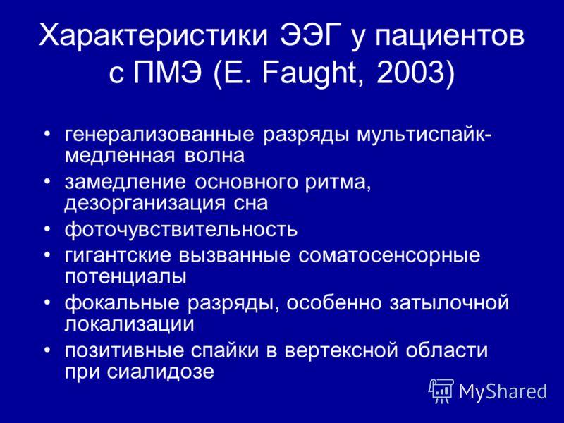 Характеристики ЭЭГ у пациентов с ПМЭ (E. Faught, 2003) генерализованные разряды мультиспайк- медленная волна замедление основного ритма, дезорганизация сна фоточувствительность гигантские вызванные соматосенсорные потенциалы фокальные разряды, особен