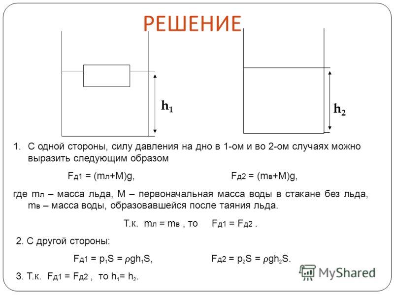 h1h1 h2h2 1.С одной стороны, силу давления на дно в 1-ом и во 2-ом случаях можно выразить следующим образом F д1 = (m л +М)g, F д2 = (m в +М)g, где m л – масса льда, M – первоначальная масса воды в стакане без льда, m в – масса воды, образовавшейся п