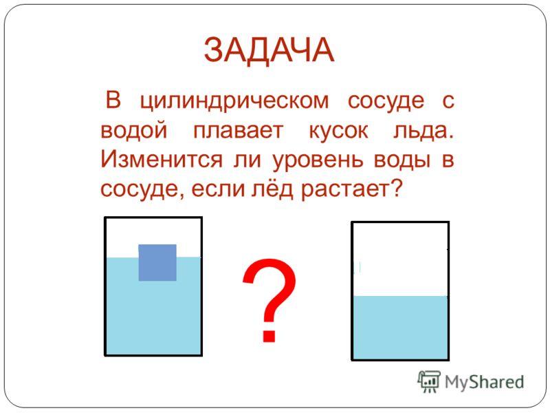 ЗАДАЧА В цилиндрическом сосуде с водой плавает кусок льда. Изменится ли уровень воды в сосуде, если лёд растает? ?